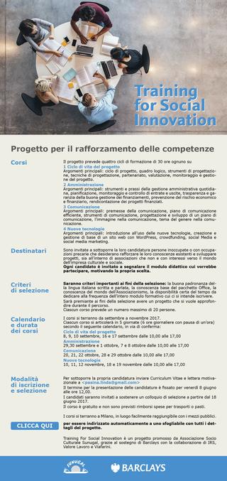 """Intercultura - Capitolo 5 Attività attività attività, Bando di partecipazione per """"Training for Social Innovation"""""""