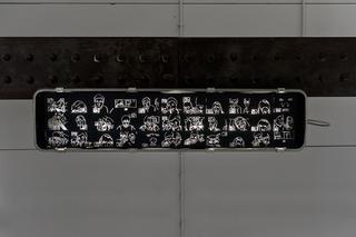 """Workshop e progetto espositivo Academy Awards """"Fuori dalla gabbia di Faraday"""", Francesca Battello, So close, yet so far, cartoncino forato, cm. 9 x 9 cad., 2012  """"Così vicino, eppure così lontano"""", mi ha detto mio padre una volta via skype. È l'unico modo che ho per comunicare """"faccia a faccia"""" con i miei genitori. Ho catturato ogni conversazione attraverso un'immagine, collezionandole. Nello spazio di Viafarini, i cartoncini sono applicati sul vetro di una porta attraverso la quale filtra la luce. L'immagine è fragile, come le parole dette a distanza.  Foto di Davide Tremolada"""