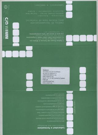 La Storia dell'Archivio - 4 - Comunicazione della programmazione, Massimo Costa, pieghevole (fronte).