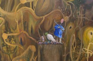 Enej Gala, Prefabrick - Walking with Art Prize 2015, Monumento a coloro che ci hanno insegnato tutto, quasi tutto, 2015 olio su tela + 5 guinzagli colorati ad olio ed inzuppati nello zucchero,(dettaglio) Foto di Giulia Alli