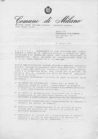 La storia dell'Archivio - 1, Convenzione con il comune di Milano.