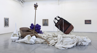 Pietro Roccasalva, O.H. Situazione d'opera in quattro stanze, Pietro Roccasalva, Untitled Just Married Machine #1, 2011, wood, acrylic, resin, rush, fabric and steel