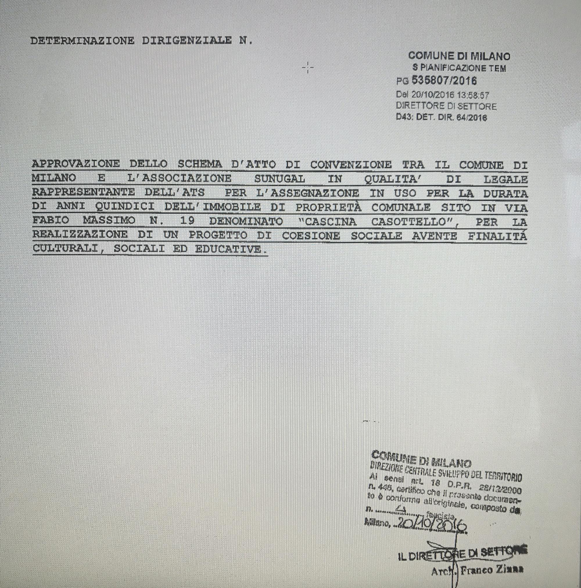 """Intercultura - Capitolo 21 Il marchio, Convenzione tra il Comune di Milano e l'associazione Sunugal per l'assegnazione dell'immobile denominato """"Cascina Casottello"""""""