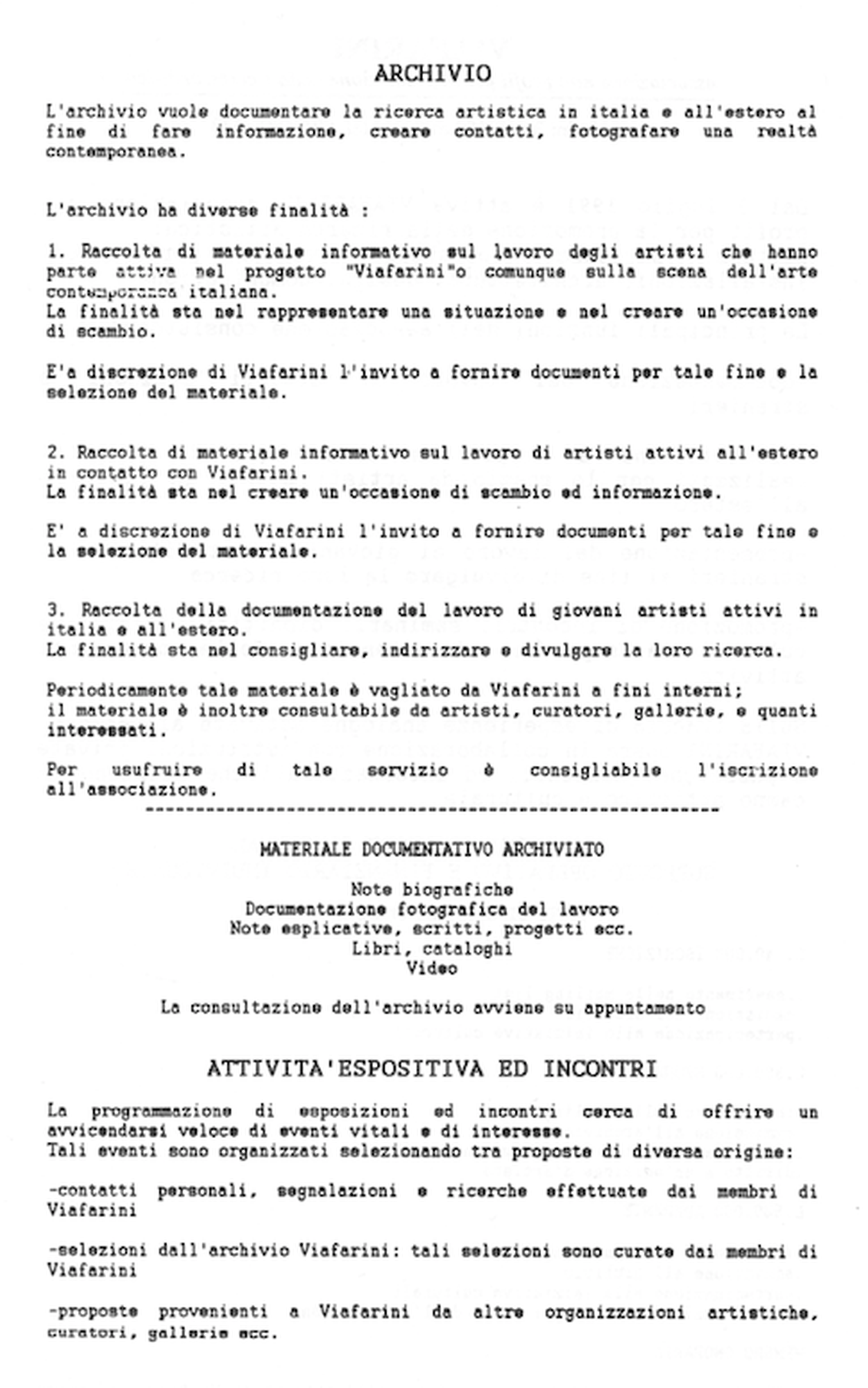 La storia dell'Archivio - 1, Mission dell'Archivio.
