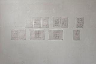 """Workshop e progetto espositivo Academy Awards """"Barbarie"""", Alkim Andrea Reggioli, Definizione, matita e china su carta da lucido, 42 x 29,7 e 21 x 29,7 cm, cad., 2012  Mi sono concentrato nell'analisi di vari spartiti musicali e una volta estrapolati gli elementi essenziali e definite le nuove regole, ho iniziato con la creazione di un nuovo mondo, che non sia necessariamente collegato al concetto precedente, ma che aiuti a esprimerne di nuovi. Foto di Davide Tremolada"""