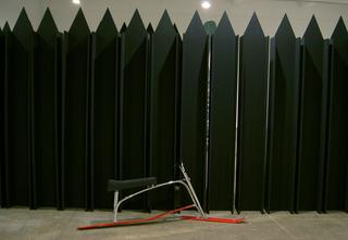 Valentin Carron, Luisant de sueur et de briantine, Valentin Carron and Mai-Thu Perret, Solid Objects, 2006, installation view at Chisenhale Gallery, London.