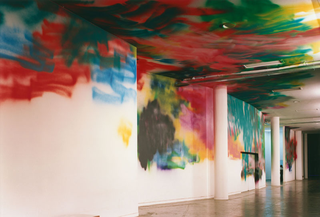 "Katharina Grosse, If music no good I no dance, Untitled, 2002, acrylic on wall, 500 x 5000 cm, ""Cidades/Cities"", 25. Bienal de Sao Paulo, Iconografias Metropolitanas,  Brasil 2002, photo: Nelson Kon"