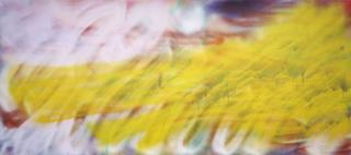Katharina Grosse, If music no good I no dance, Untitled, 2003, acrylic on canvas, 278 x 624 cm, photo: Olaf Bergmann