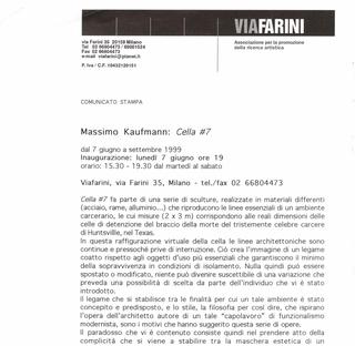 Massimo Kaufmann, Cella #7, Il comunicato stampa
