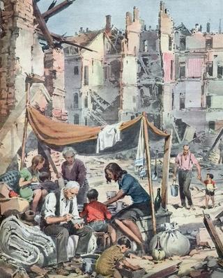 Leone Contini, Il Corno mancante, Bivacco tra le macerie, Milano, 1943.