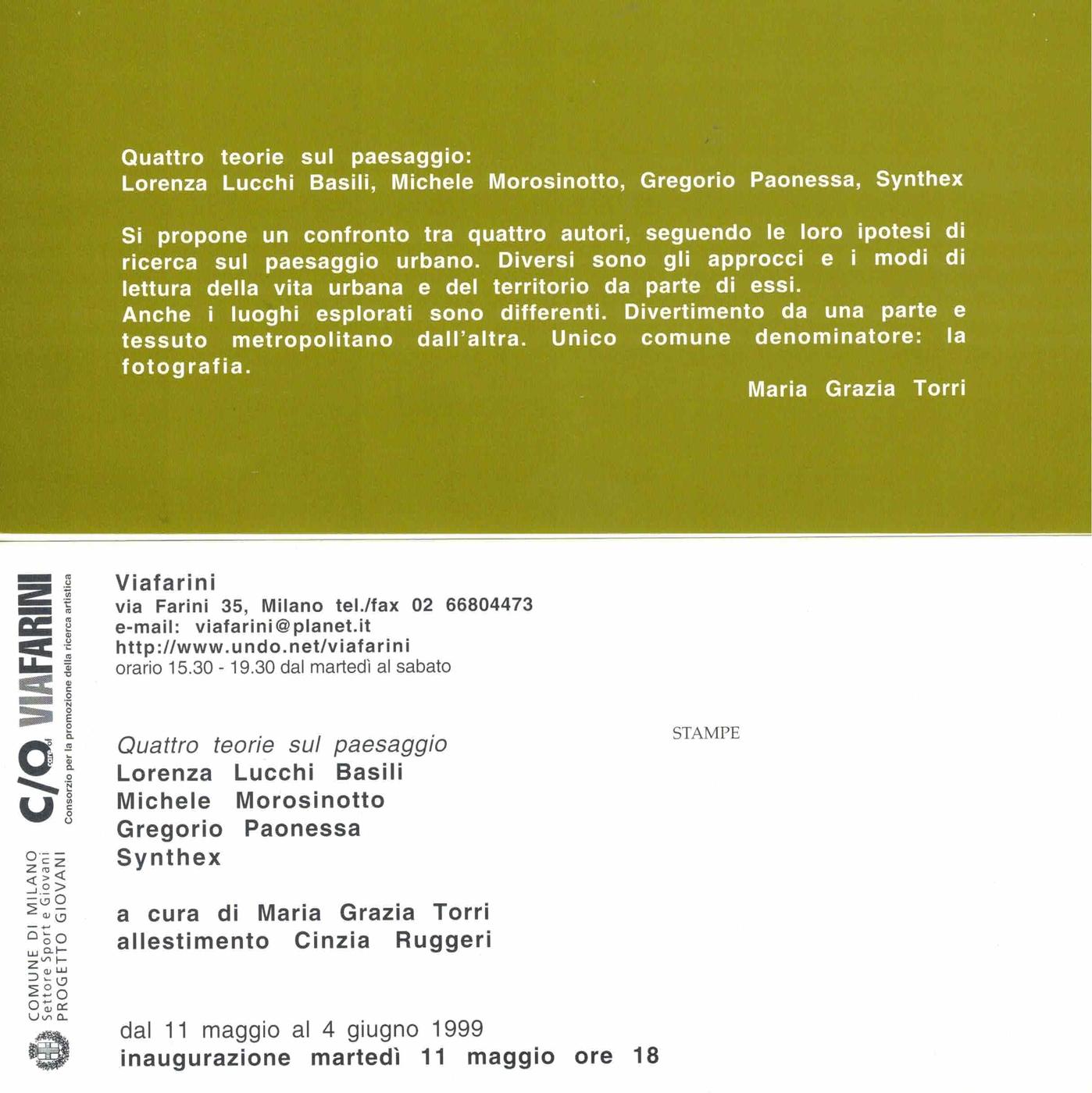 Lorenza Lucchi Basili, Michele Morosinotto, Gregorio Paonessa, Synthex, Quattro teorie sul paesaggio