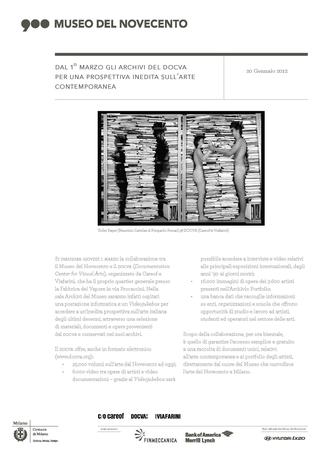 La storia dell'Archivio - 1, Comunicato DOCVA al Museo del Novecento.