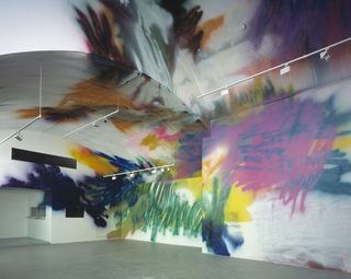 Katharina Grosse, If music no good I no dance, Untitled, 2003, acrylic on wall, 530 (800) x 1430 x 855 cm, Final Cuts, Union, London, photo: Dave Morga