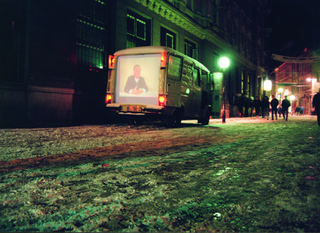 Maja Bajevic, Avanti Popolo, Maja Bajevic, The Speaker, 1998, action, video installation shown on the back of a mobile van, flyers / photographs.