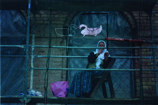 "Maja Bajevic, Avanti Popolo, Maja Bajevic, Women at Work — Under Construction, 1999, five-day performance on the scaffolding of the National Gallery of Bosnia and Herzegovina / video (11'48"") / photographs.