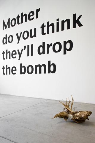Loredana Di Lillo, Animal, Mother do you think they'll drop the bomb, 2011 tempera su muro 253 x 368 cm  Marta, 2011 ceppo d'albero, stoffa 60 x 20 cm  Foto di Zeno Zotti