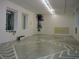 Federico Herrero, Mental Landscapes and Transit Lines, Mixed media on wall, epoxic paint on masking tape on floor, oil on canvas Veduta dell'installazione a Viafarini.
