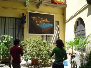 Arrivederci e Grazie, Allestimento dell'opera di Jonatah Manno nel cortile.