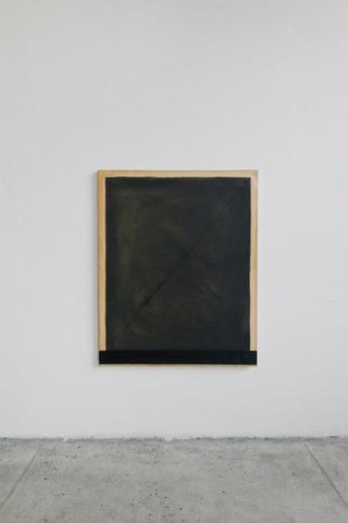 Angelo Sarleti, Antologia, Shadow Monolith o sul sistema bancario ombra, 2012 foglia oro e olio su tela 130 x 110 cm Foto di Davide Tremolada