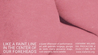 """Workshop e progetto espositivo Academy Awards 2016, Evento """"like a faint line in the center of our heds"""" queer afternoon of performance art, 25 marzo, immagine chiave."""