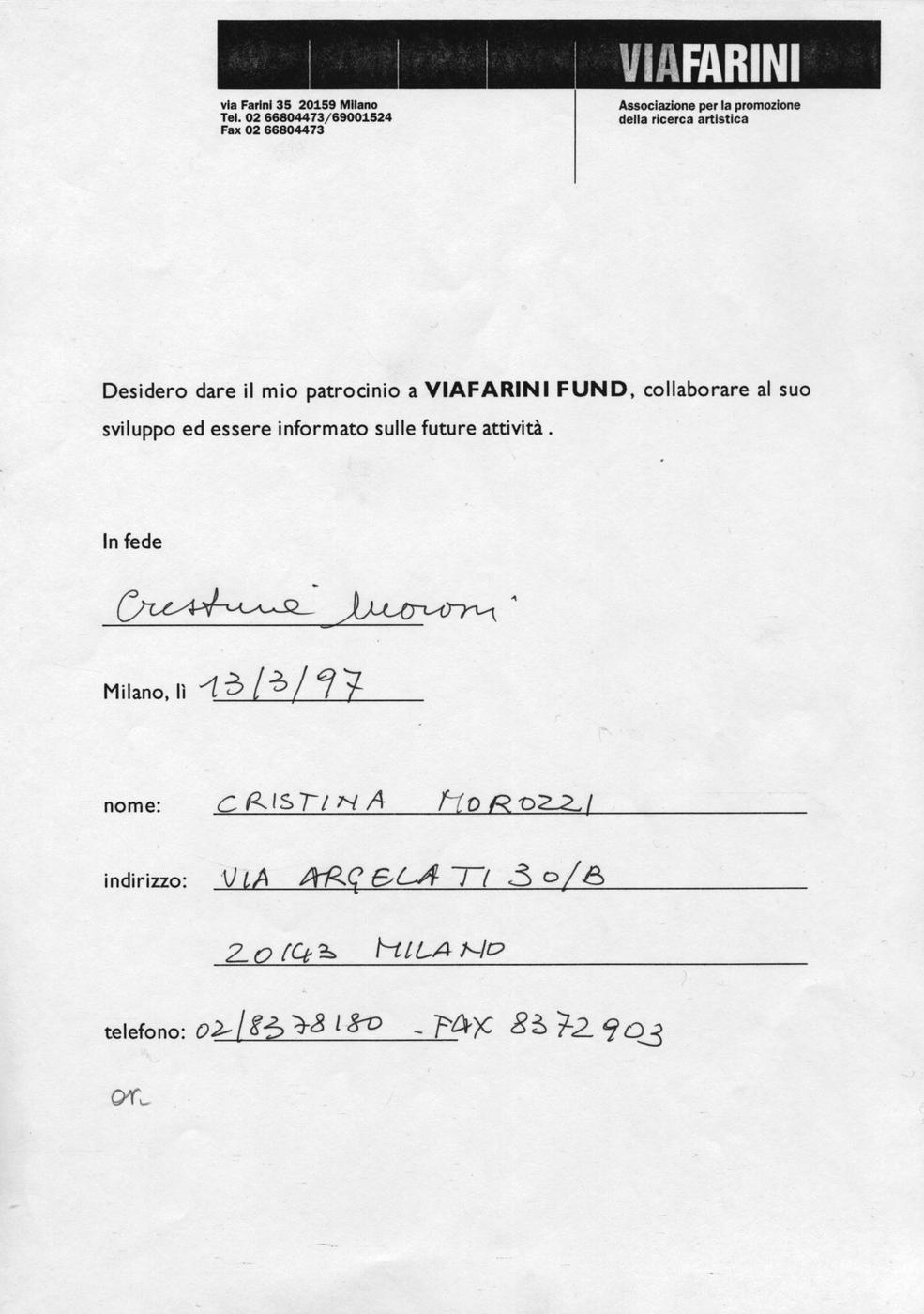 Massimo Morozzi, Quadri in esposizione, Al Viafarini Fund nel 1997