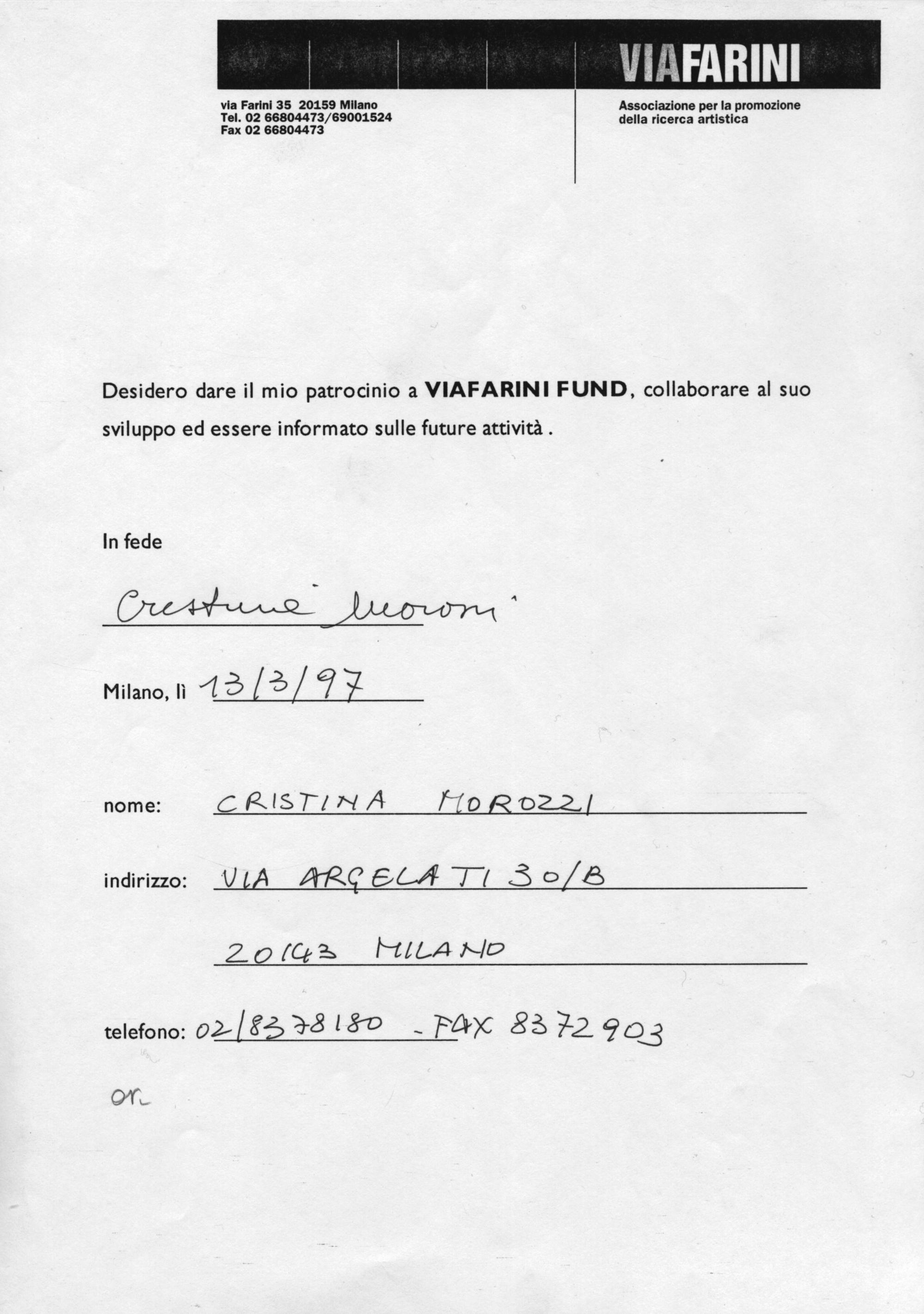 Massimo Morozzi, Quadri in esposizione, Al Viafarini Fund nel 1997.