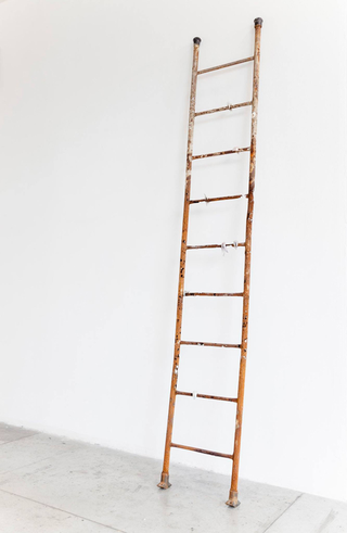 Enej Gala, Prefabrick - Walking with Art Prize 2015, Gli ostacoli sono gli ultimi a stancarsi, 2016 scala di ferro arruginito, das, vinavil, colori ad olio Foto di Federica Boffo