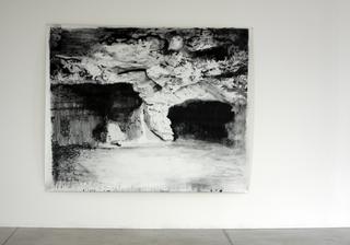 Adelita Husni-Bey, La montagna verde, Grotte, 2011 carboncino su carta intelata