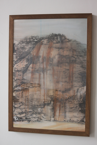 Adelita Husni-Bey, La montagna verde, Carboncino e olio su carta