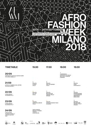 Settimana della Moda alla Fabbrica del Vapore, Calendario Afro Fashion Week 2018