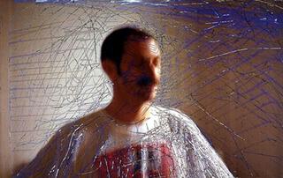 Stefano Arienti, Senza titolo (autoritratto), 1996 (Untitled (Self-portrait)) Electrostatically transfered print from scratched slide 87 x 135 cm Studio Guenzani, Milano