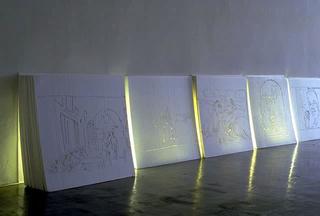 Stefano Arienti, Senza titolo, 1991 (Untitled) Engraved polystyrene, neon lights 120 pannelli da 100 x 100 cm cad.