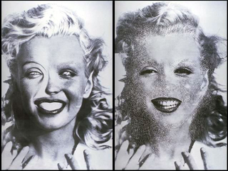 Stefano Arienti, Senza titolo (Marilyn), 1993 (Untitled (Marilyn)) Partially erased poster 100 x 80 cm ciascuno Galerie Analix, Genève