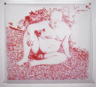 Stefano Arienti, Uomo sul greto del fiume, 2001 (Man on the river's gravel-bed) (Acrylic on polyester) 110 x 120 cm Courtesy:Galerie Micheline Szwajcer, Antwerp
