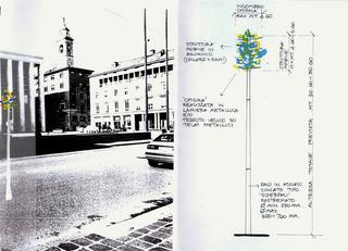 Stefano Arienti, Palo Albero, 1998 (Pole Tree) Metal Piazza della Libertà, Bergamo