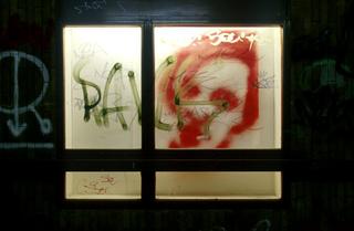 Stefano Arienti, Diorami, 1998 (Dioramas) Sprayed on drawings on tracing paper and other supports, mixed media dimensioni variabili - Subway , stazione MM De Angeli, Milano Foto:Antonio Maniscalco