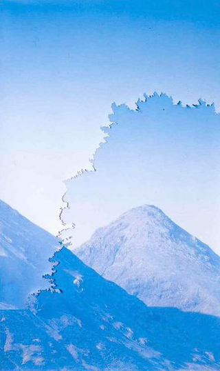 Stefano Arienti, Montagne blu, 2004 (Blue Mountains) Collages ot of perforated Poster 159 x 96 cm Foto:Roberto Marossi Courtesy:Studio Guenzani, Milano