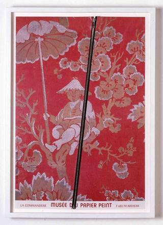 Stefano Arienti, Cinesino Tapezzeria, 2006 (Chinese Tapestry) Red zip fastener on poster 60 x 40 cm Studio Guenzani - Guenzani via Melzo 5, Milano Courtesy:Studio Guenzani, Milano