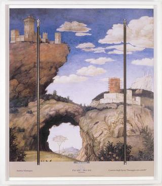 Stefano Arienti, Paesaggio con castelli, 2006 Zip fastener on poster 70 x 60 cm Courtesy:Studio Guenzani, Milano
