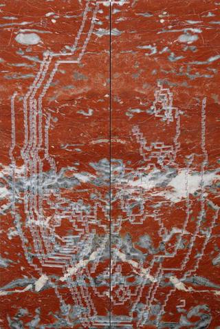 Stefano Arienti, Fiore rosso Francia, 2007 Engraved marble 100 x 33 x 6,3 cm cad. Courtesy:Studio Guenzani, Milano