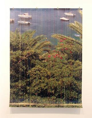 Stefano Arienti, Tenda ligure, 2005 Seams on poster 131 x 96 cm Courtesy:Galleria Massimo Minini, Brescia