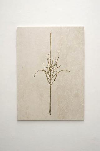Stefano Arienti, Erba #1, 2010 Marble and golden ink 100 x 72 x 2 cm Courtesy:Galleria Massimo Minini, Brescia