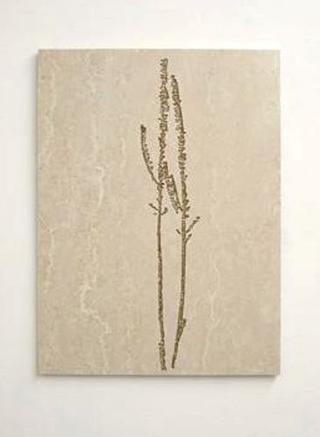 Stefano Arienti, Erba #3, 2010 Marble and golden ink 100 x 72 x 2 cm Courtesy:Galleria Massimo Minini, Brescia