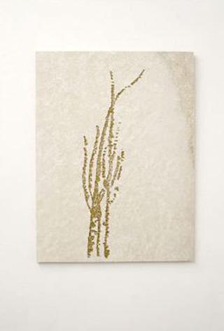 Stefano Arienti, Erba #4, 2010 Marble and golden ink 100 x 72 x 2 cm Courtesy:Galleria Massimo Minini, Brescia