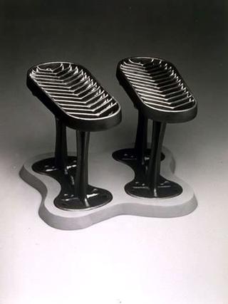 Maurizio Cattelan, Punto di vista mobile, 1989 (Mobile point of view) Iron, wood 40 x 33 x 30 cm
