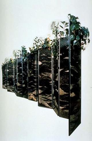 Maurizio Cattelan, Cerniere, 1989 (Hinges) Glass, earth, plant 900 x 170 x 22 cm
