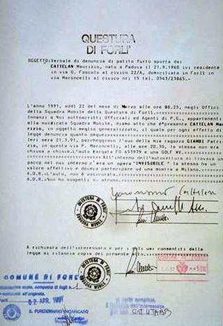 Maurizio Cattelan, Denuncia, 1991 - Briefing , Galleria Luciano Inga-Pin, Milano