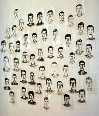 Maurizio Cattelan, Super-Noi, 1993 Acetates 50 pezzi da cm 29,7 x 21 Installation view: Documentario 2 , Spazio Opos, Milano