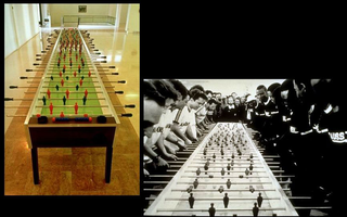 Maurizio Cattelan, Stadio, 1991 Mixed media 700 x 120 x 70 cm Galleria Comunale d'Arte Moderna, Bologna