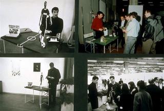Maurizio Cattelan, Stand abusivo, 1991 (Abusive stand) Gadgets, banquet Artefiera 91, Bologna